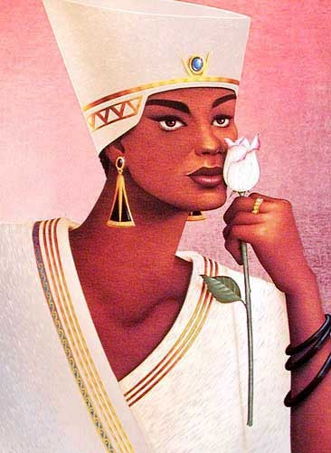 Ägyptische Frau mit weißer Rose Alubild