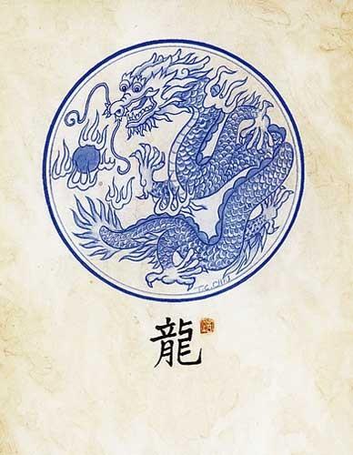 Drache -Asiatische Kunst- Kunstdruck