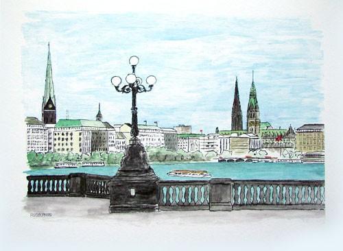 Hamburg, Alster Kunstdruck