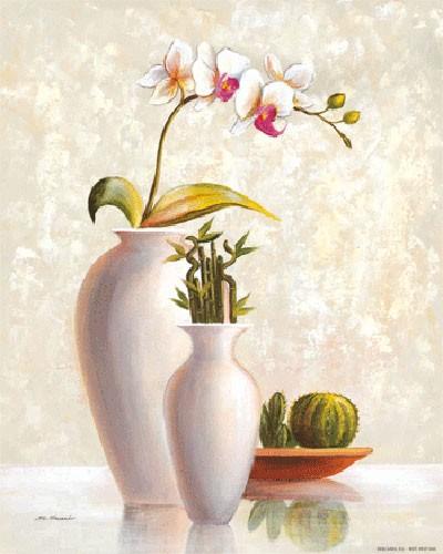 Stilleben, Zwei Weiße Vasen und Kaktus II, S. Sauci