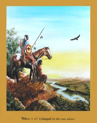 Indianer auf dem Felsvorsprung by J.T. Vogtschmidt