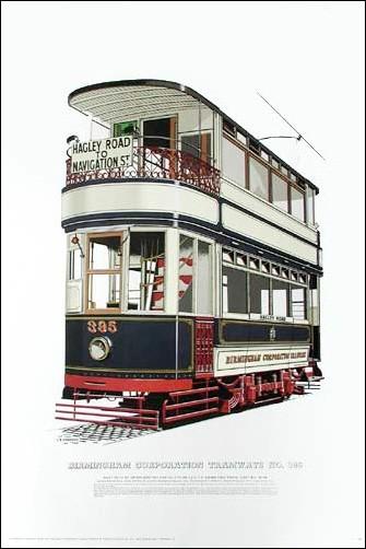 Straßenbahn von Birmingham Druck 40x60 cm