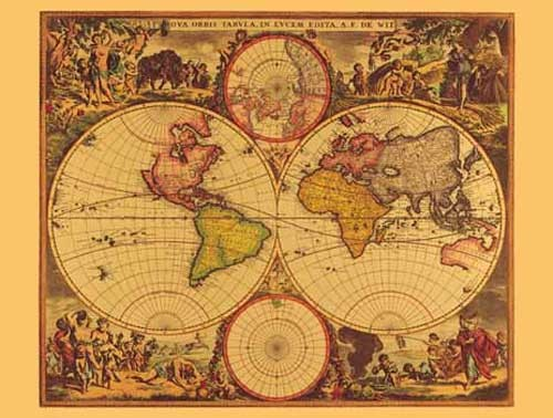 Historische Weltkarte von De Witt, Gold- Aluminium Druck