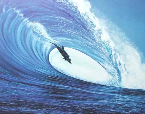 Delphin unter Welle von Lynne Boyer