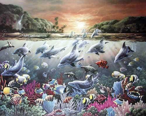 Tropische Bucht bei Sonnenuntergang Poster