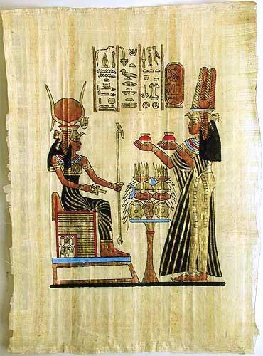 Ägyptisches Papyrus-Bild Hathor und Nefertari