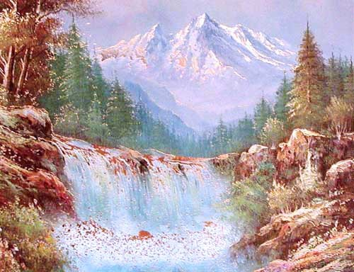 Landschaft mit Wasserfall by Michaja