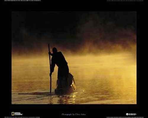 Ein Mann im Boot am Sambesi - Poster