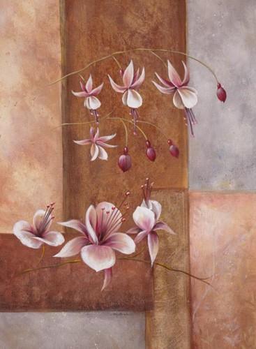 Exotische Blumen mit abstraktem Hintergrund II