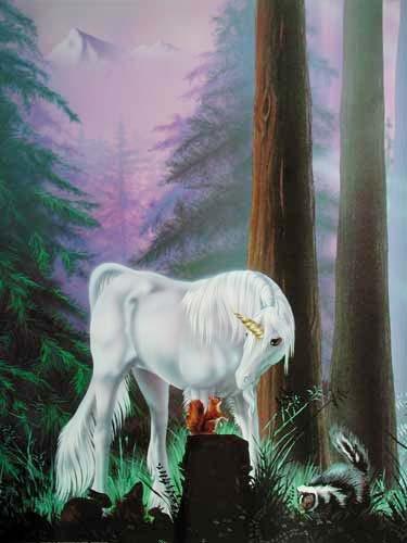 Einhorn und Waldfreunde Poster 40x50