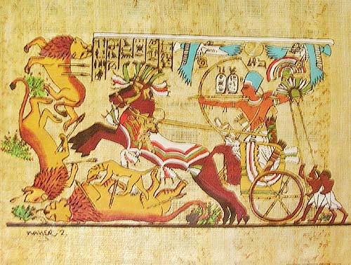 Tutanchamun auf der Löwenjagt Alu Bild