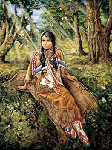 Indianerin im Wald - Dufex Alubild 16x21 cn
