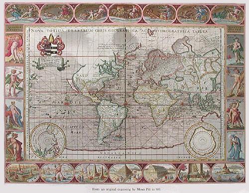 Historische Weltkarte von Moses Pitt, silber
