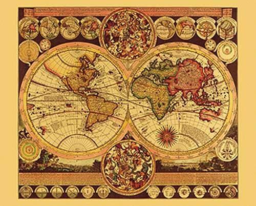 Historische Weltkarte Aluminium Druck